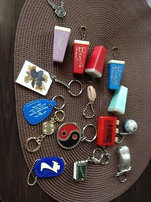 Vintage Plastic Seagram's 7 Keychain +  Advertising + Lot Nexxtech Car Key Ring