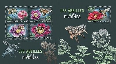 CA13423ab Central Africa 2013 Bees and Peonies MNH SET