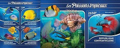 Z08 CA15220ab CENTRAL AFRICA 2015 Tropical fishes MNH Mint SET