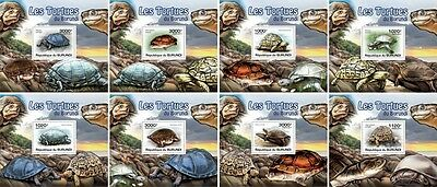 Z08 Imperforated BURdelux20 BURUNDI 2012 Turtles 8 x s/s MNH