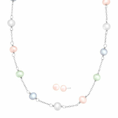 Girl's 6 mm Freshwater Pearl Necklace & Earring Set in Sterling Silver
