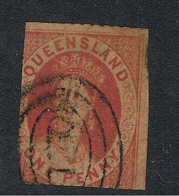 QUEENSLAND 1d RED CHALON WITH 2 LARGE MARGINS