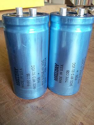 Mallory Capacitors (2) CGS 9400 MFD 50 VDC 235 7411A - TESTED - from Crown D150