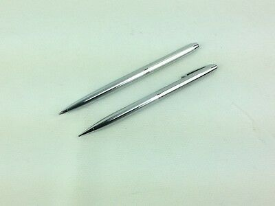Sheaffer Ball Pen Pencil Set Chrome Stainless Steel Made In USA Free Shipping