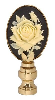 "VINTAGE STYLE ROSE CAMEO LAMP FINIAL ~ Brass Finish  { 2 1/2"" Tall } ~ by PLD"