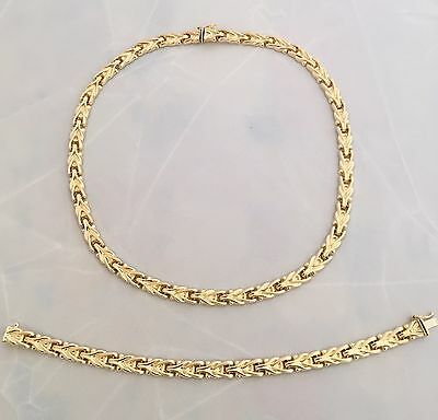 Fancy Necklace & Bracelet Set 18K Yellow Gold 42.2 Grams Made In Italy
