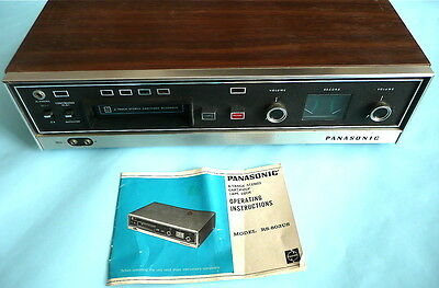 Panasonic 8 Track player recorder with directions manual 1970s vintage RS-803US
