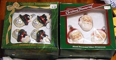 4 Boxes (14) Bradford Glass Santa & Snowman Christmas Tree Ornaments