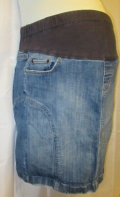 Mimi Maternity L Skirt Denim Straight Pencil Wiggle Belly Panel Stretchy Knee