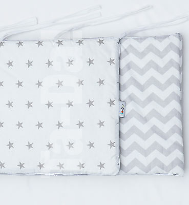 cot/cot bed bumper grey stars and chevron with silver piping boys and girls