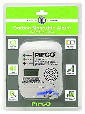 PIFCO Carbon Monoxide Co Alarm Detector  - EN 50291 Certified - LCD Display UK
