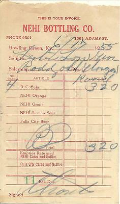 Nehi Bottling Co. / Rc Cola, Bowling Green, Ky Invoice 1955