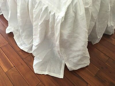 Sale! A sample Shabby washed pure Flax Linen bed skirt dust ruffle WHITE Queen
