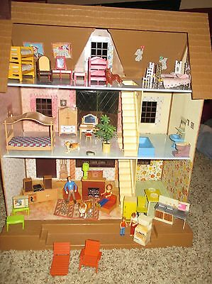 Vintage Large 3 Story Tomy Dollhouse & Furniture & Family
