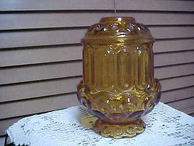 "6.75"" Moon And Stars L.e. Smith Amber Glass Fairy Lamp  Very Nice"