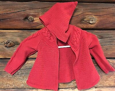 GAP Toddler GIRLS Cable Knit CARDIGAN SWEATER SZ 18-24 MONTHS RED Gnome Hood