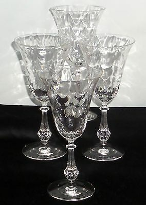 "4 Fostoria LOOP OPTIC/WAVECREST CRYSTAL *7 1/4"" WATER GOBLETS*"