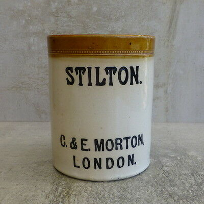 Antique Stilton Crock C E Morton London England Stoneware AGED 13.2cm Typography