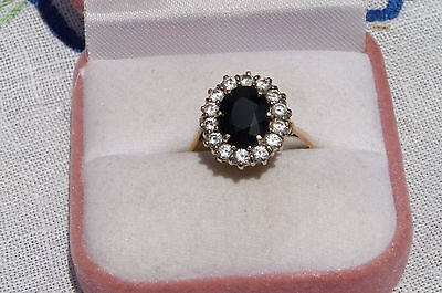 Vintage 9ct Solid Yellow Gold CZ/Natural Sapphire Ring Size Q/8.5