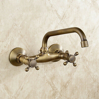 Retro Brass Wall Mount Bathroom Basin Faucet Dual Handle Kitchen Sink Mixer Tap