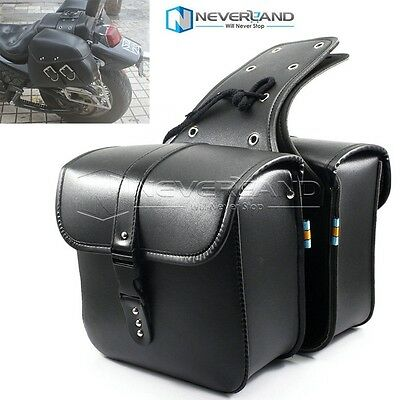 Black Motorcycle PU Side Tool Bag SaddleBag Luggage For Harley Sportster Touring