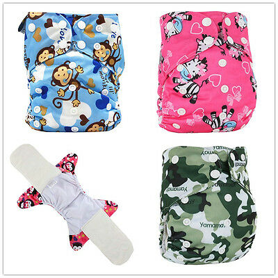 New Baby bamboo fiber All in One Nappies&Diaper Cover Breathable Washable Nappy