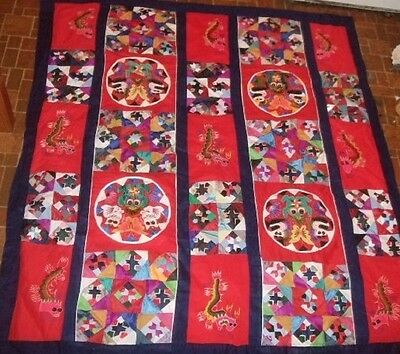 Chinese Folk Art Reversible Applique Patchwork Embroidered Quilt