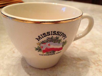 Vintage Mississippi state flag gold trimmed tea coffee cup Magnolia historical