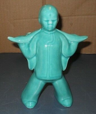Vintage Wall Pocket Jacquin Ceramic Pottery Planter Teal Green Japanese Man