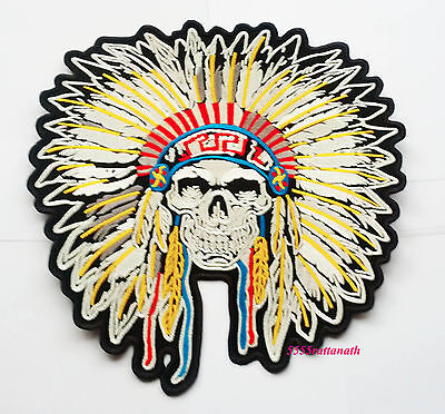 """Large Big Huge indian Chief Skull Embroidered Patch 10"""""""