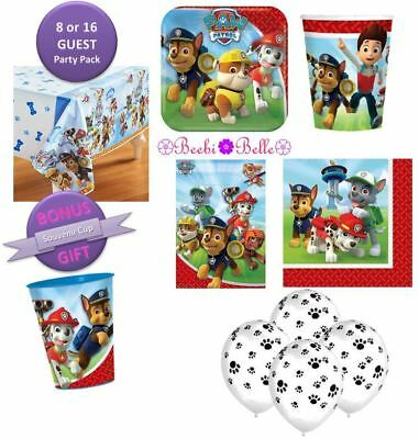 Paw Patrol Birthday Party Pack Plates Cups Napkins Balloons Lolly Bag 8 -16 Kids