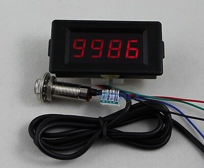 Red 12V 4 Digital Red LED Counter Meter Up Down+Hall Proximity Switch Sensor NPN