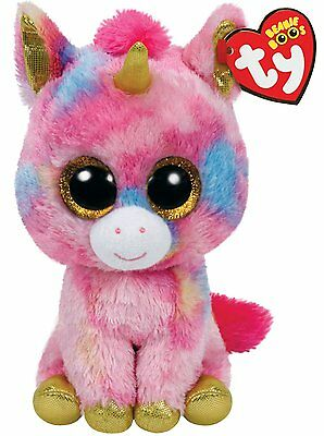 "NEW 2016 Fantasia The Multi Color Unicorn 6"" Plush Beanie Boos Toy Doll TY"