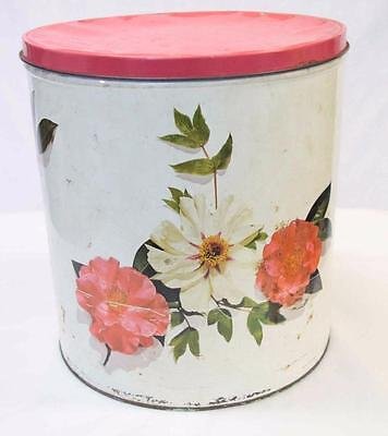 Willow Vintage Biscuit Tin 1950s White With Camellias And Red Lid # 10125
