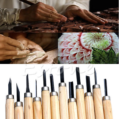 12PCS Professional Wood Carving Hand Chisel Woodworkers Gouges Tool Set