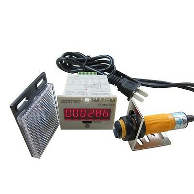 6Digital LED Counter 100-240VAC +Photoelectric Sensor Automatic Conveyor Belting