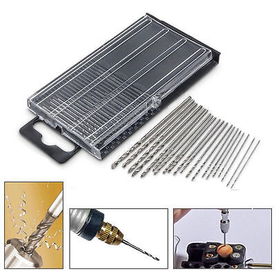 20PCS Mini Tiny Micro HSS Twist Drill Bit Set 0.3mm-1.6mm Model Craft With Case