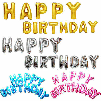 """16"""" Giant Foil Letters A-Z Balloons Helium Large Happy Birthday Party Wedding"""