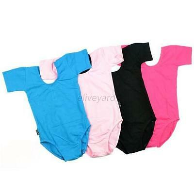 Kids Girl Ballet Dance Dress Short Sleeve Leotard Training Clothing Clothes E33