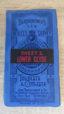 """c1920 """"BARTHOLOMEW'S MAP OF LOWER CLYDE -SHEET 3"""" 1/2 INCH TO ONE MILE"""