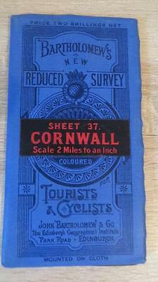 "c1920 ""BARTHOLOMEW'S MAP OF CORNWALL - SHEET 37"" 1/2 INCH TO ONE MILE"