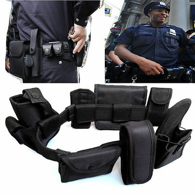 Black Tactical Nylon police Security Guard Duty Belt Utility Kit System Pouch A
