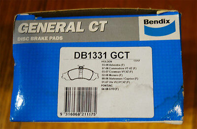 Bendix Front General GCT Brake Pad Set DB1331 GCT fits Holden Commodore VT VX VY