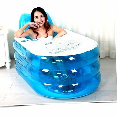 New Foldable Durable Adult Spa Inflatable Bath Tub With Electric Air Pump Blue