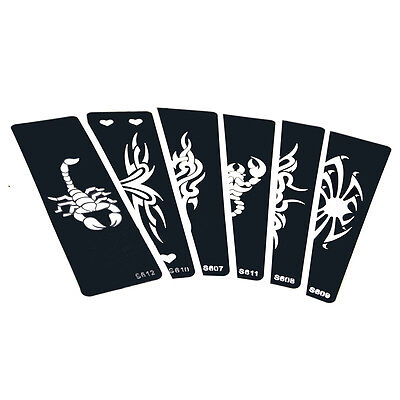 6 Pieces Body Paint Henna Tattoo Stencil Colored Drawing Scorpion Spider Pattern