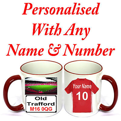 PERSONALISED  FOOTBALL SHIRT MUG FOR ALL Manchester United FOOTBALL FANS.