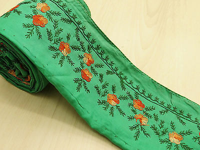 Vintage Indian Sari Border Embroidered Trim Sewing Green Sarong Ribbon Lace 1YD