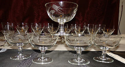 Vint. Wheat Etched Champagne Wine Glass Stemware Set of 5 Beautiful & Delicate