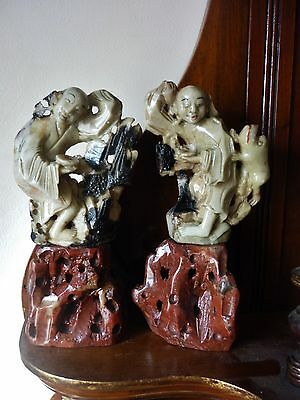 Rare pair Antique Chinese carved soapstone figures c 1800-1900