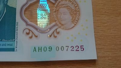 AH09 007 Polymer £5 Five Pound NOTE 225 THE REAL James Bond PODCAST EXTREME RARE